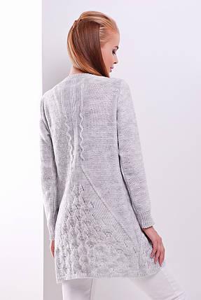 Кардиган вязаный комфортный вяпрямого силуэта на пуговицах размер универсальный 44-50 светло-серый, фото 2