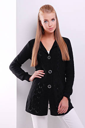Кардиган вязаный комфортный вяпрямого силуэта на пуговицах размер универсальный 44-50  черный, фото 2