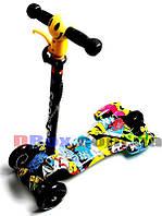 """Самокат детский Scooter Maxi """"Raketa"""" Joker до 80 кг светящиеся колеса + светомузыка + ручной тормоз"""
