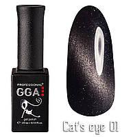 """Гель-лак GGA Professional """"кошачий глаз"""" №1, 10ml"""