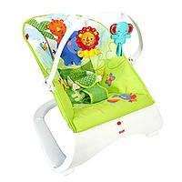 Шезлонг детский оригинальный кресло качалка массажное Тропические друзья Fisher-Price CJJ79
