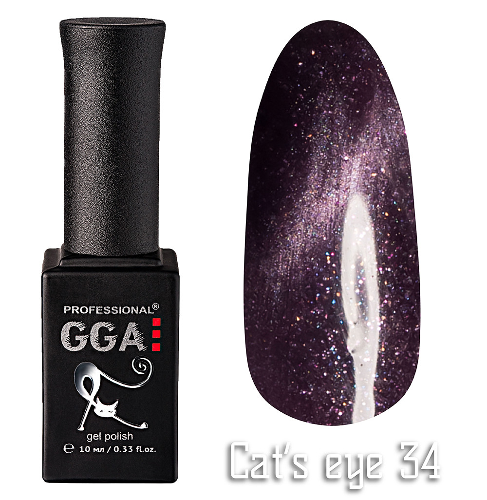 """Гель-лак GGA Professional """"кошачий глаз"""" №34, 10ml"""