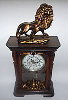"""Настольные интерьерные часы-статуэтка """"Лев"""", кварцевые, часы-сувенир, подарочные, сувенирные часы"""