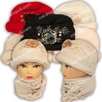 Вязаная шапочка и шарф, в упаковке микс