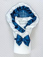 """Демисезонный конверт-одеяло """"Элегантность"""", белый с т.синим"""
