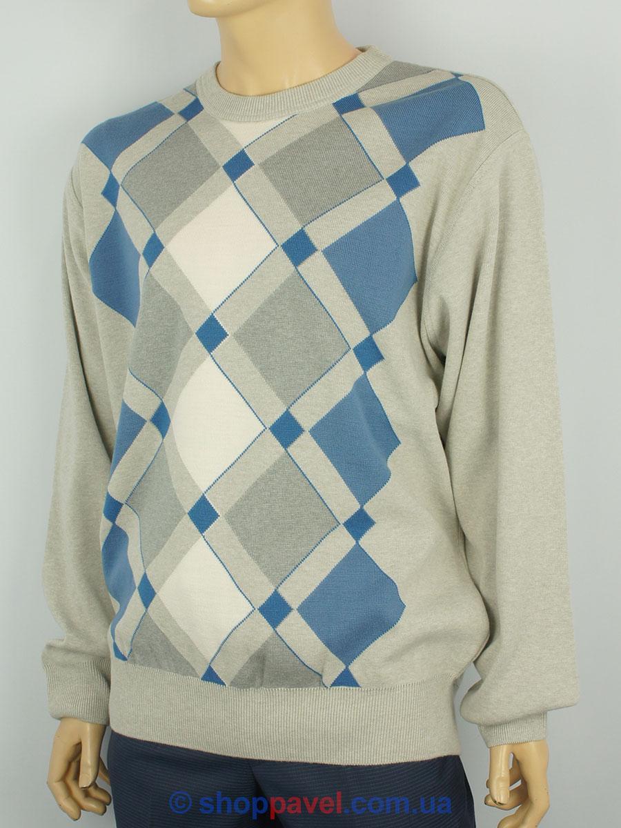 Мужской свитер King Wool 407 серый в ромбы