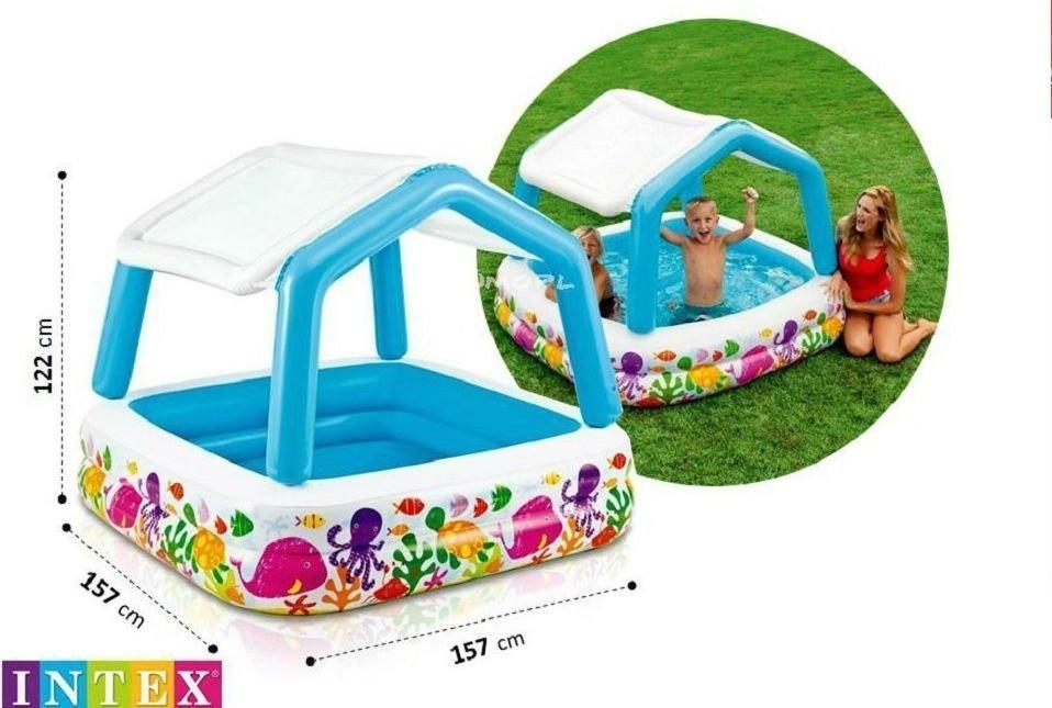 Детский бассейн Intex 57470 со съемной крышей, интекс 157х157 см