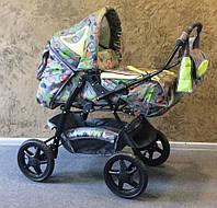 Универсальная коляска-трансформер  Яся абстр.+салатовый