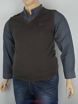 Коричневый мужской свитер-обманка Off 22043 в большом размере