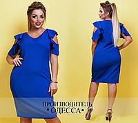 Женское красивое платье с воланами 062 / батал / в расцветках