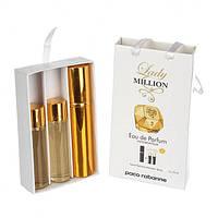 Подарочный парфюмерный набор Paco Rabanne Lady Million (Пако Рабанн Леди Миллион) с феромонами 3х15 мл