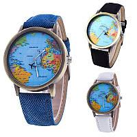 Женские наручные часы с самолетом и картой мира, Global Travel синие