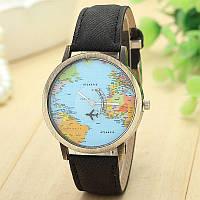 Женские наручные часы с самолетом и картой мира, Global Travel черные, фото 1