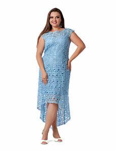 Вечернее гипюровое платье большого размера с асимметричным низом