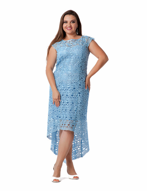 c10b2270889 Вечернее гипюровое платье большого размера с асимметричным низом -  Styleopt.com в Харькове