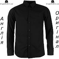Рубашка мужская черная длинный рукав Pierre Cardin | Сорочка чоловіча чорна на довгий рукав Pierre Cardin