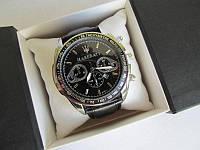Мужские наручные часы Maserati (Мазерати) хром с черным циферблатом