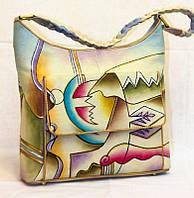 """Женская кожаная сумка """"Абстракция"""", с плетеной ручкой, фото 1"""