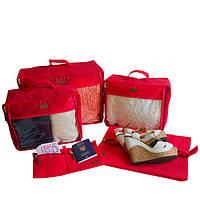 Набор дорожных сумок в чемодан, красный
