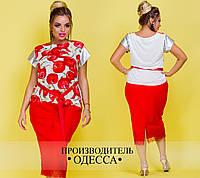 Женская красивая блузка с принтом 513-ИН17Л / батал / белый+красный (р. 46-60)