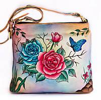 """Женская кожаная сумочка """"Rossa"""", с оригинальной ручной росписью"""