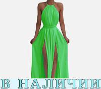 Воздушное шифоновое платье с американской проймой и разрезами на ногах  Belle