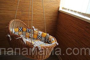 Люлька из лозы с постельным набором