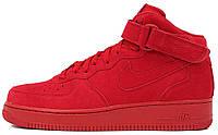 """Мужские кроссовки Nike Air Force 1 Mid 07 """"Gym Red"""" (Найк Аир Форс высокие) красные"""