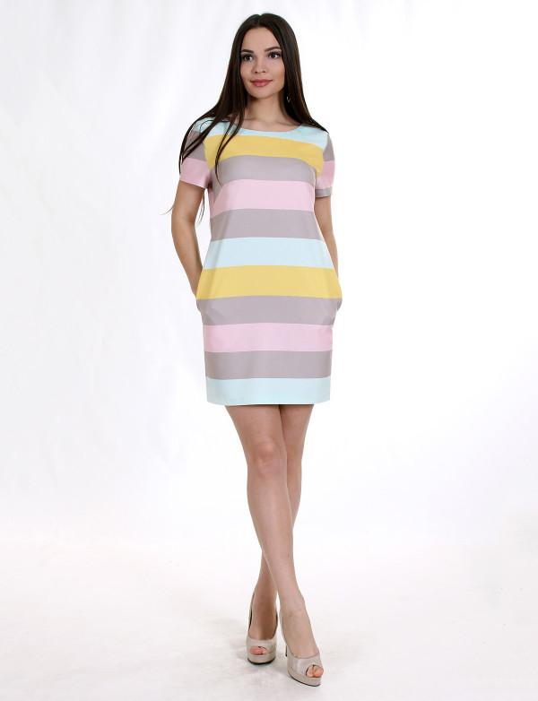 e441ae0beb0 Коктейльное платье большого размера в горизонтальную полоску цветное -  Styleopt.com в Харькове