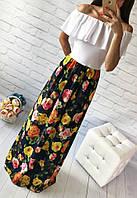 Летнее платье в пол спущенные плечи, белый с ярким принтом: желтые розы