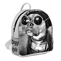 Белый городской женский модный стильный рюкзак сумка  с принтом Собака в очках