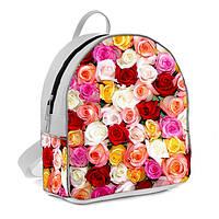 Белые городские модные рюкзаки с принтом Розы
