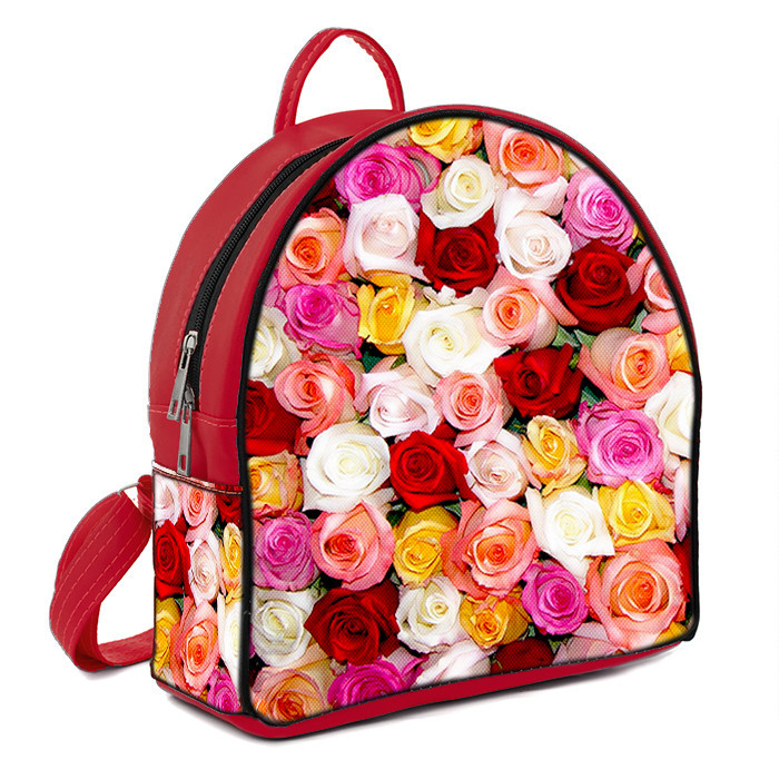 Красные молодежные городские рюкзаки с принтом Розы