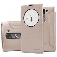 Кожаный чехол-книжка Nillkin Sparkle для LG H502F Magna золотой