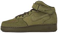 """Мужские кроссовки Мужские кроссовки Nike Air Force 1 Mid """"Legion Green"""" (Найк Аир Форс высокие) хаки"""