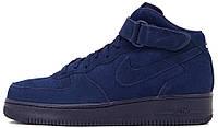 """Мужские кроссовки Nike Air Force 1 Mid 07 """"Binary Blue"""" (Найк Аир Форс высокие) синие"""
