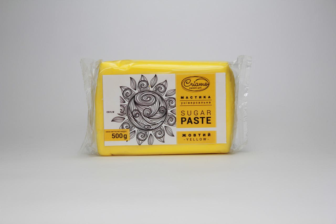 Сахарная мастика «Criamo» жёлтая 0,5 кг для обтяжки Украина -05393