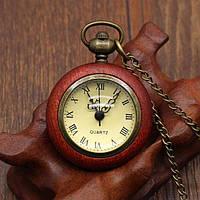 Часы карманные в деревянном корпусе кварцевые
