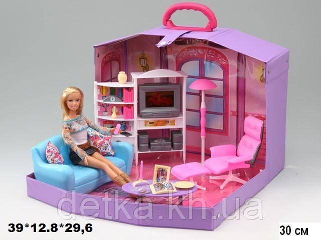 Игрушечная мебель с куклой гостиная, в чемодане Gloria 2014HB