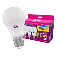 Комплект LED Ламп ELM A60 10W PA10L E27 4000K (3шт.)