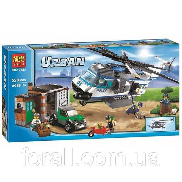 """Конструктор Bela №10423 серия Urban город (агалог Lego City 60046) """"Вертолётный патруль"""""""
