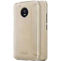 Кожаный чехол-книжка Nillkin Sparkle для Motorola Moto G5 золотой
