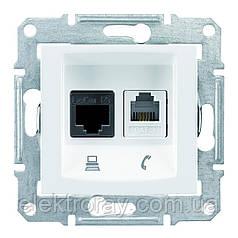 Розетка компьютерная - телефонная CAT5 x RJ11 Schneider Sedna белая