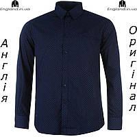 Рубашка мужская темно-синия длинный рукав Pierre Cardin |Сорочка чоловіча темносиня довгий рукав Pierre Cardin