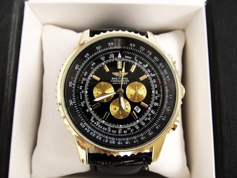 Мужские наручные часы Breitling (Брейтлин) золото с черным циферблатом ( код: IBW068YB )
