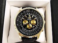 Мужские наручные часы Breitling (Брейтлин) золото с черным циферблатом