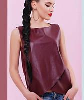 Женская кофта без рукавов с экокожей (Genevafup)