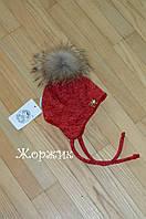 Осенняя шапка для девочки красная натуральный  мех