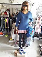 Дизайнерский женский свитер-туника синяя длинный рукав