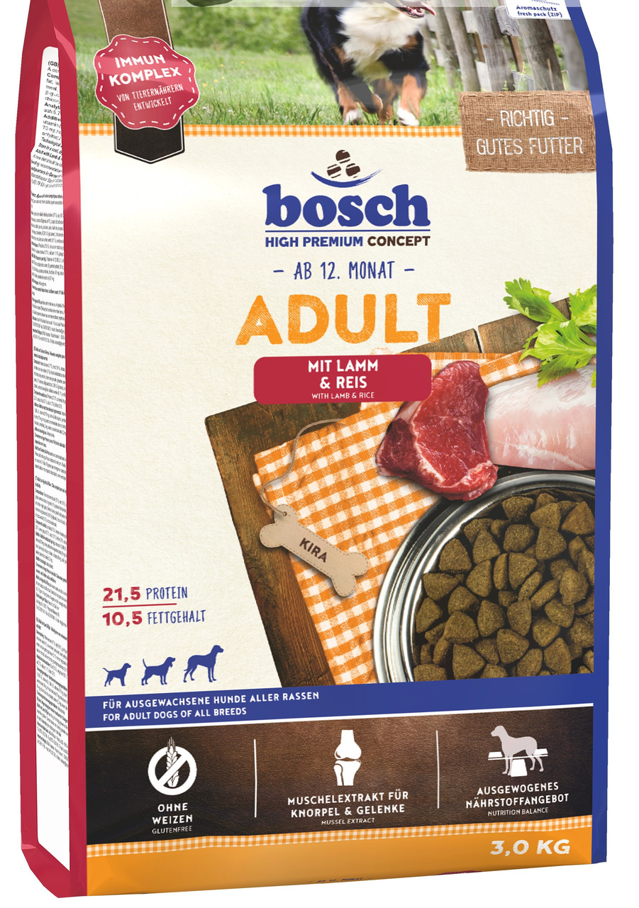 Bosch ADULT Lamb & Rice 3 кг -  корм для собак со средним уровнем активности (ягненок/рис)